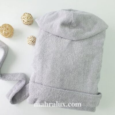 Банный халат из серо-белой хлопковой махры