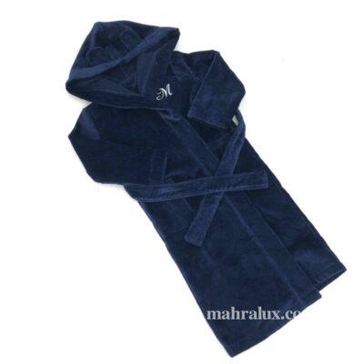 Детский халат из синей велюровой махры