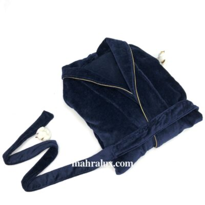 Синий махровый халат с золотым кантом