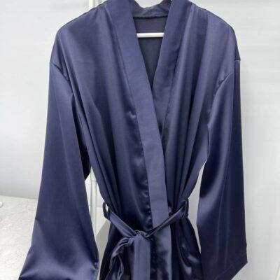 Атласный халат тёмно-серо-синий