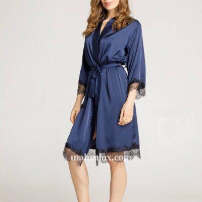 Женский шёлковый халат Синяя ночь