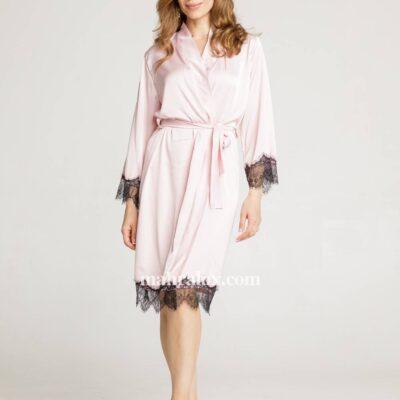 Женский шёлковый халат Лепесток розы