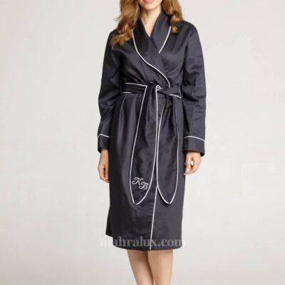 Женский сатиновый халат с окантовкой